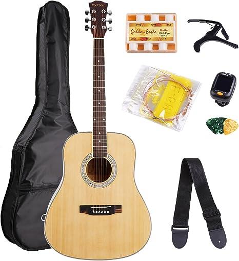 cooc Ejército abeto estándar de 41 pulgadas Guitarra acústica Set ...