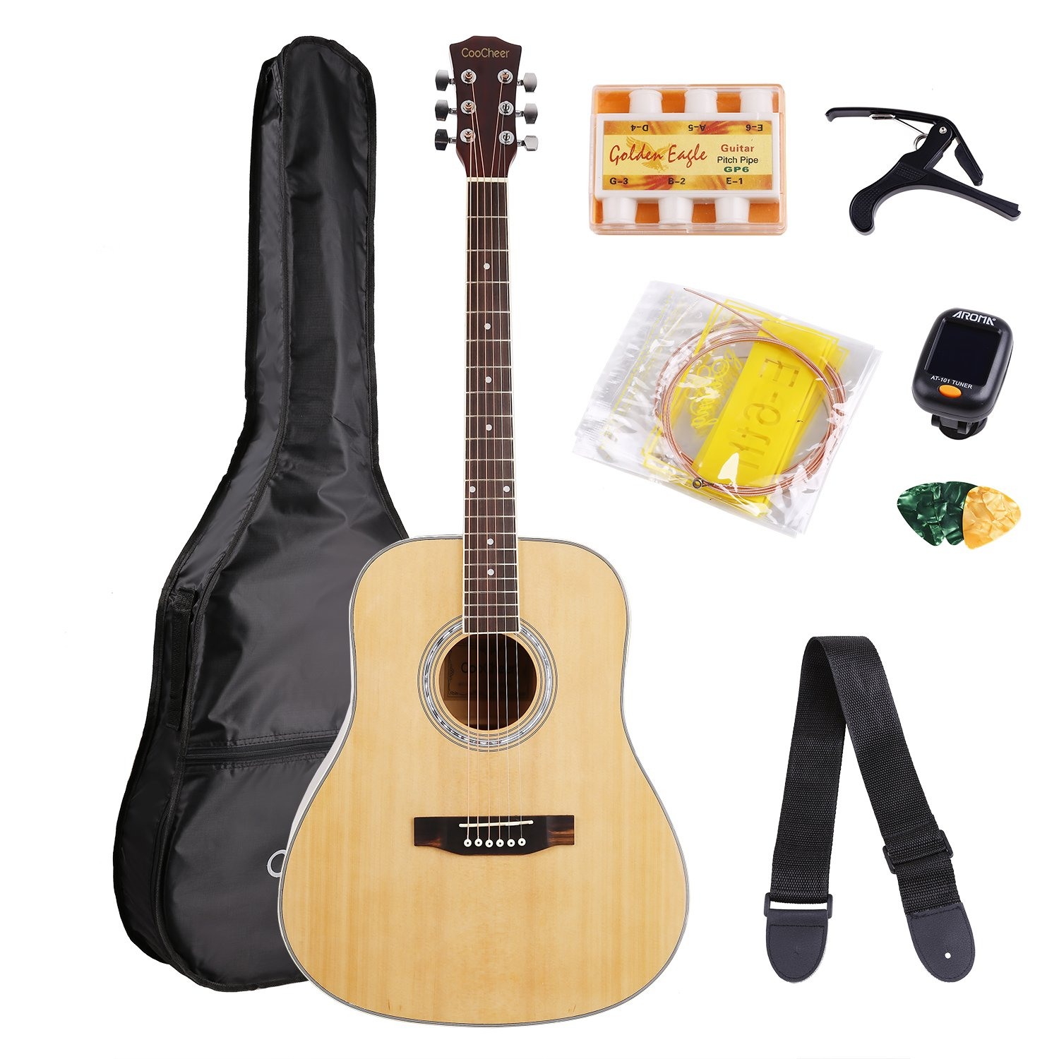 Coocheer Acoustic Guitar 41 Inch Full Size Beginners Dreadnought Spruce Guitar Bundle with Gig Bag E-tuner Capo Picks Strap String