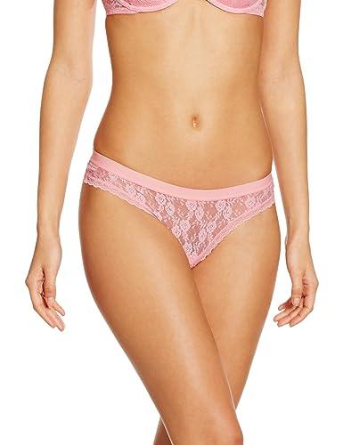 Iris & Lilly Braguita thong de encaje para mujer, Rosa (Pink), Medium