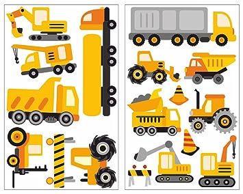 Wandtattoo Baustellenfahrzeuge im Set Kinderzimmer Deko