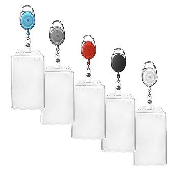 Ausweishüllen transparent vertikal mit Ausweisjojo und Karabinerhaken