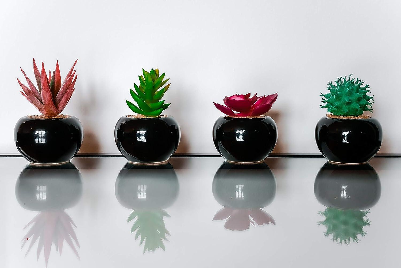 CasaDelGC - Juego de 4 plantas artificiales decorativas con piedras en cerámica esmaltada color negro, ideal para decoración del hogar, la oficina y el jardín: Amazon.es: Hogar