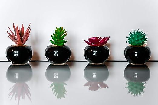 CasaDelGC - Juego de 4 plantas artificiales decorativas con piedras ...