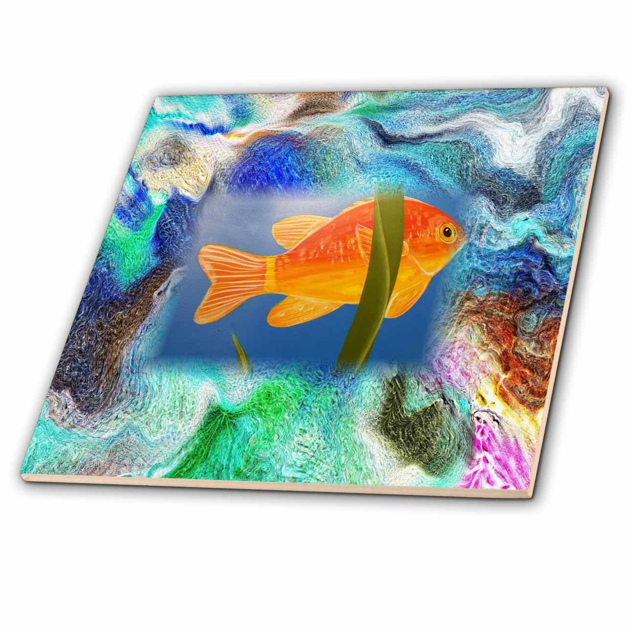 3dRose ct_281539_2 Image of Digital Painting with Orange Fish Ceramic Tiles,
