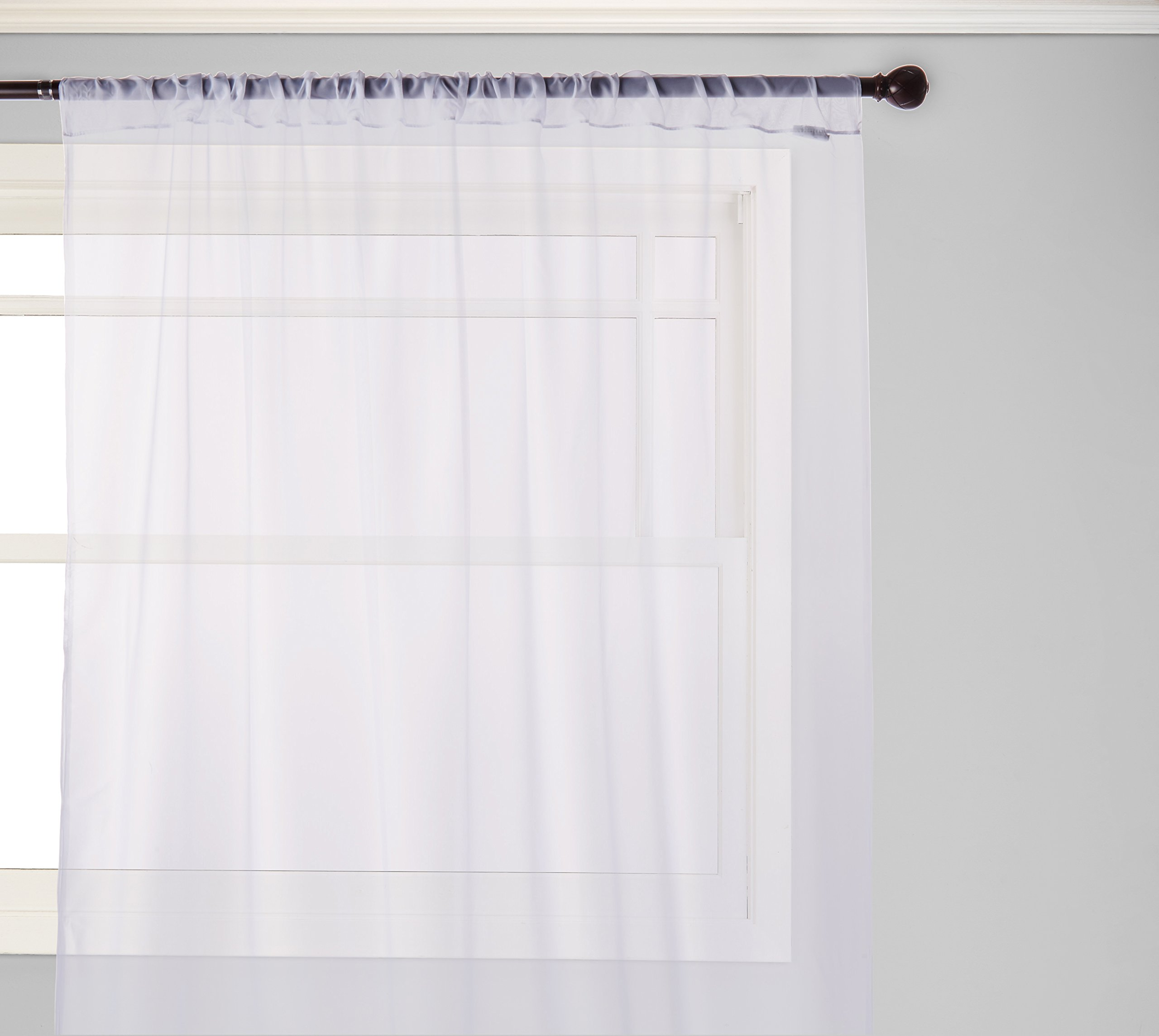 """Curtainworks Soho Voile Sheer Curtain Panel, 59 by 120"""", Winter White - Sheer voile panel with 8-inch rolled hem Antique-grey taupe, Honey-gold taupe, Oyster-light cream ivory, Silver-silver gray, Winter White-white 59 Inch wide; 3-inch rod pocket - living-room-soft-furnishings, living-room, draperies-curtains-shades - 71m5LzzalvL -"""