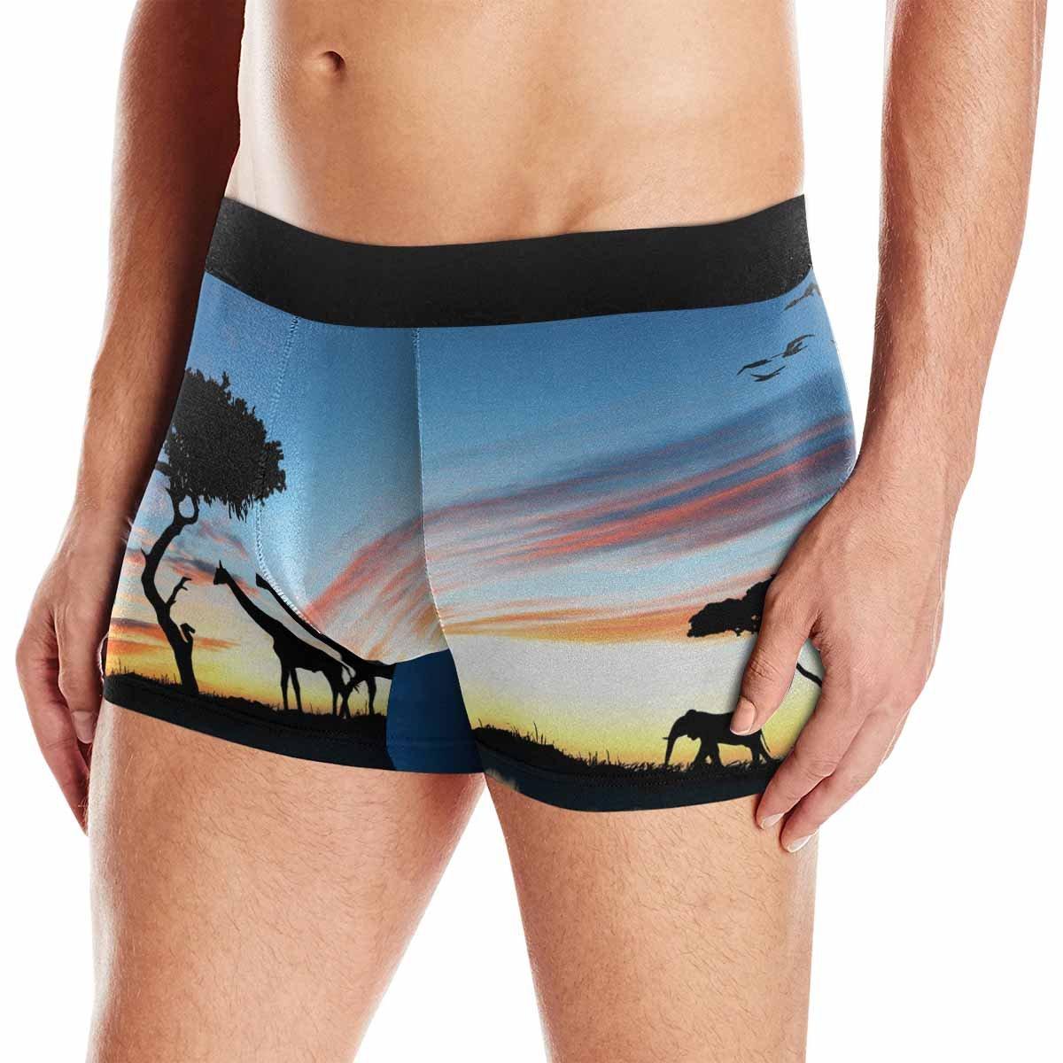 INTERESTPRINT Mens Boxer Briefs Underwear Safari in Africa Silhouette of Wild Animals Reflection in Water XS-3XL