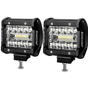 Led Light Bar 4 Inch BEAMCORN Led Pods 120W 12000Lm Waterproof Cube Spot Flood Combo Off Road Lights Driving Backup Lights for Trucks Jeep RZR ATV UTE UTV
