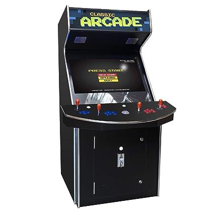 Creative Arcades Full Size Commercial Grade Cabinet Arcade Machine Trackball 3500 Classic Games 4 Sanwa Joysticks 2 Stools 32 Screen
