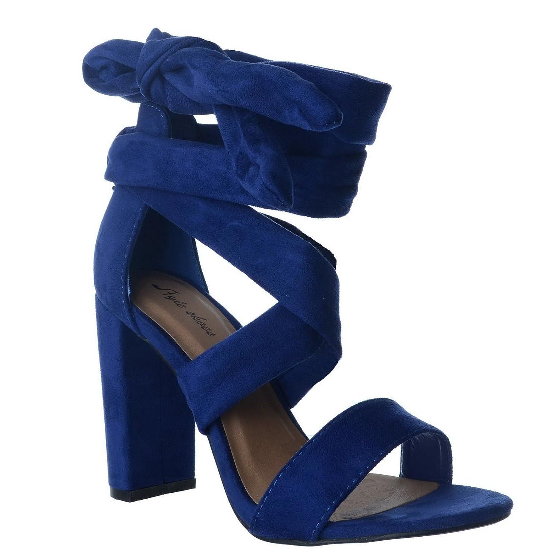 d29968764 WOMENS LADIES NEW HIGH BLOCK HEEL PEEP TOE LACE UP LEG SANDALS PARTY SHOES  SIZE [Cobalt Blue Faux Suede UK 4 / EU 37 / US 6]: Amazon.co.uk: Shoes &  Bags