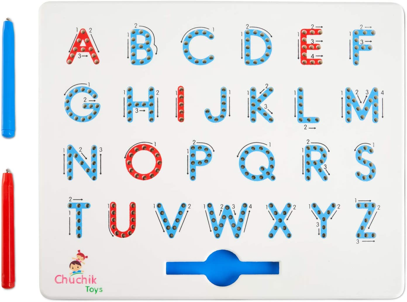 CHUCHIK Toys Magnapad Magnetic Drawing Board – Interactive Alphabet Letter Tracing Board Game for Ages 3-5 – Portable Kids Writing Board and 2 Pen Magnets for Educational Play and Alphabet Games(Blue-