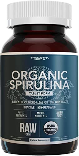 Organic Spirulina Tablets Highest Nutrient Density Purest Spirulina in World, Guaranteed – Raw Certified, 4 Organic Certifications, Non-Irradiated 120 Tablets