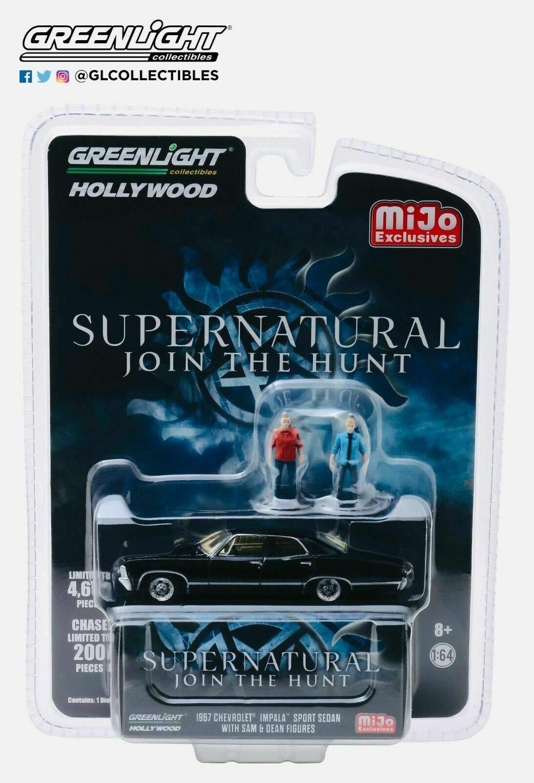 1967 Chevrolet Impala Sport Sedan Black w/Sam and Dean Figurines Supernatural (2005) TV Series Ltd Ed 4,600 pcs 1/64 Diecast Car by Greenlight 51206 by Greenlight