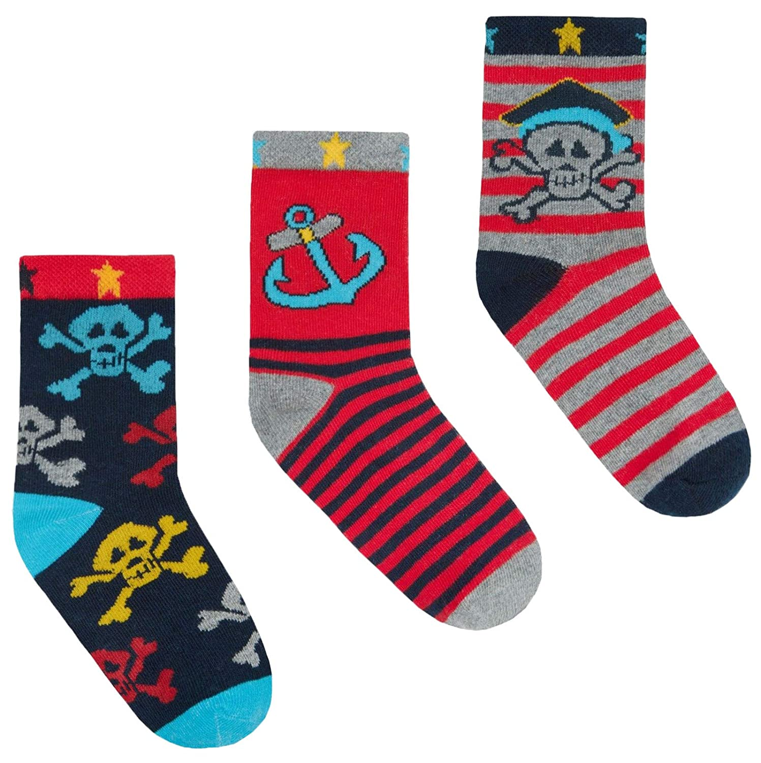 JollyRascals 3 Pairs Boys Socks New Kids Sports Ankle Socks with Funny Print Faces or Pirate Boy 3 PACK Socks Black Multi Red Green Blue Stripe UK Sizes 6-8.5 9-12 12.5-3.5 and 4-6