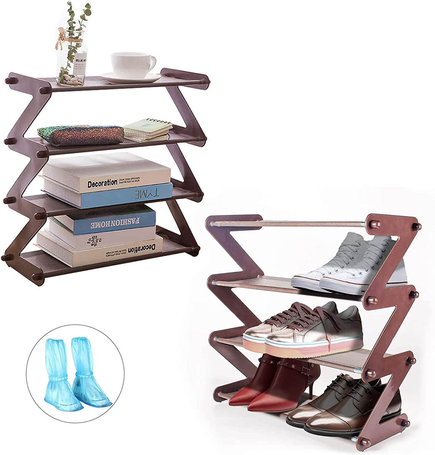 MIAOKE 2 Pieces Stackable Shoe Organizer, 4-Tier Stackable Shoe Rack, Multi-Layer Shoe Storage Organizer, Shoe Rack for Shoes and Daily Supplies + A Pair of Plastic Shoe Covers