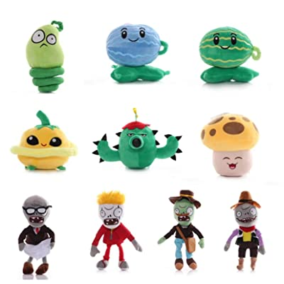 Tacumo Plants vs Zombies Plush Toy Stuffed Soft Doll Party Set for Kids (Sets of 10 C): Toys & Games