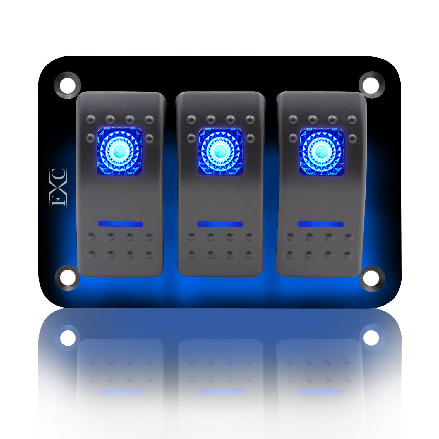 FXC Rocker Switch Aluminum Panel 3 Gang Toggle Switches Dash 5 Pin ON/OFF 2 LED Backlit for Boat Car Marine Blue