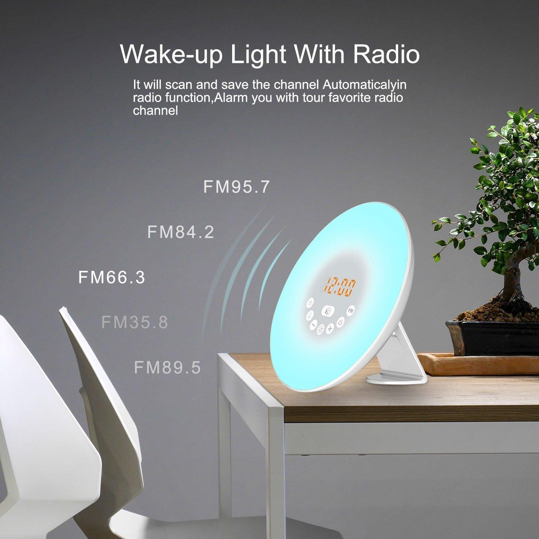 PDR despertador luz despertador Sunrise y Sunset Simulation 6 sonidos naturales y radio FM 7 colores ánimo luz LED gráfico Touch Control lámpara de noche 10 ...