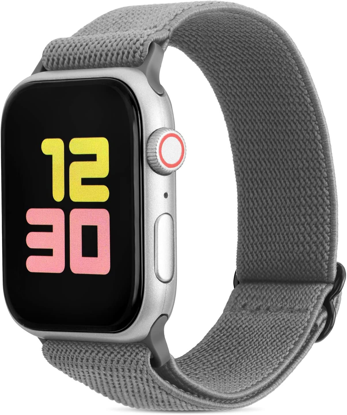 FITWORTH Adjustable Stretchy Nylon Watch Band Compatible with Apple Watch 38mm 40mm, iWatch Series 6 SE 5 4 3, Ultra Soft, Light & Breathable, Suit for Men's Women's Sports & Workout (38/40, Gray)