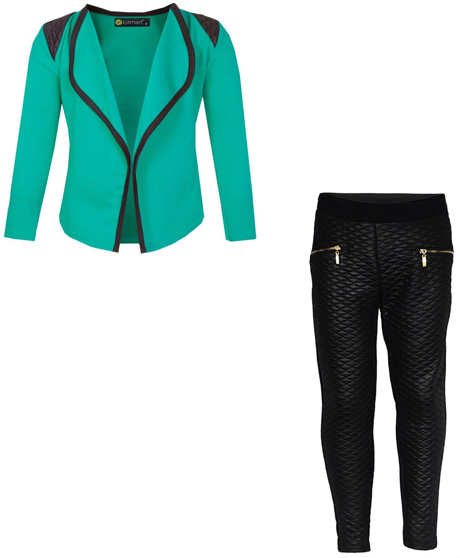 LotMart Girls Blazer Bundle Textured Leggings Style 3 in Mint Black 5-6 Y