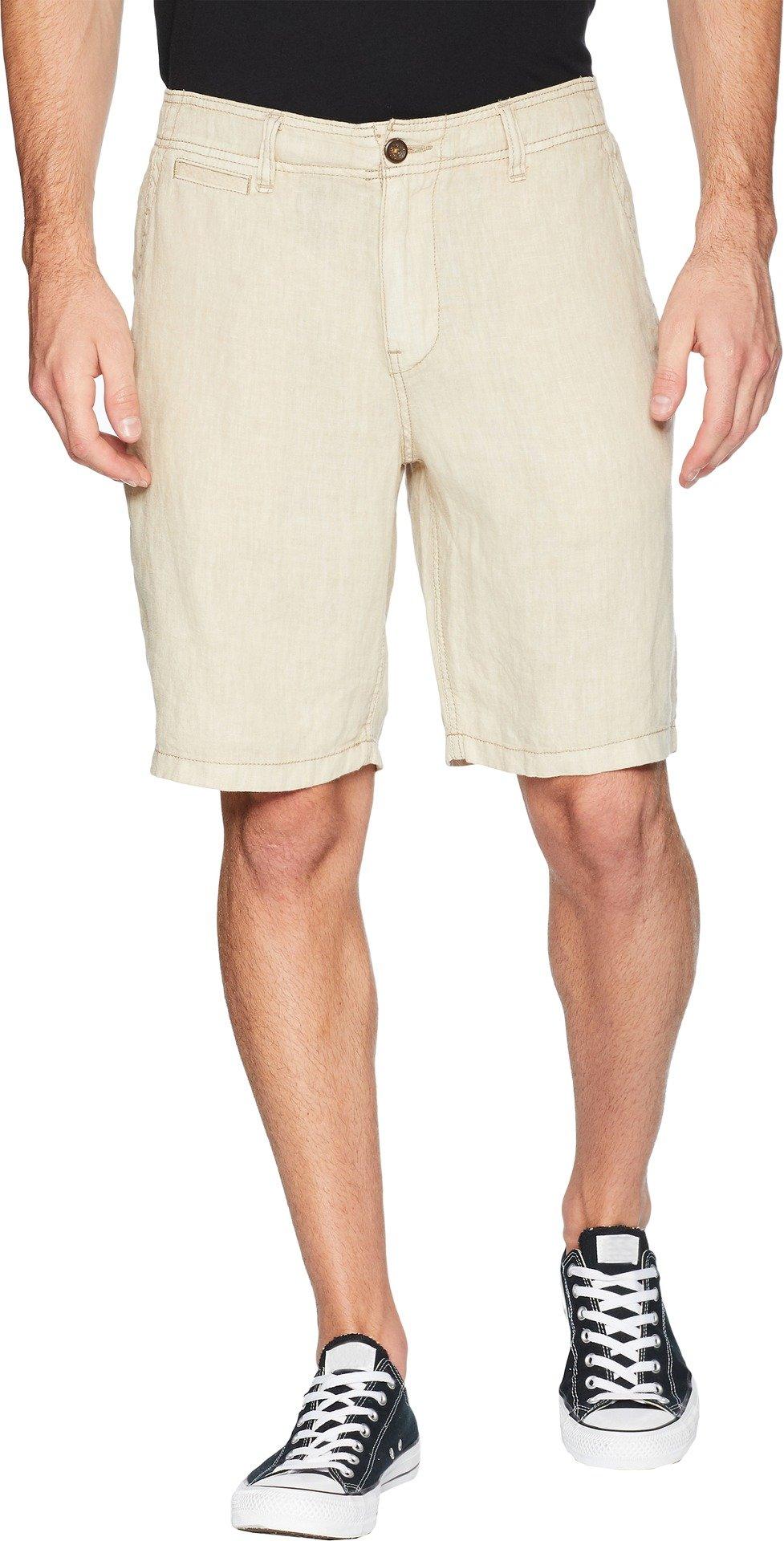 Lucky Brand Men's Laguna Linen Flat Front Short, Plaza Taupe, 32