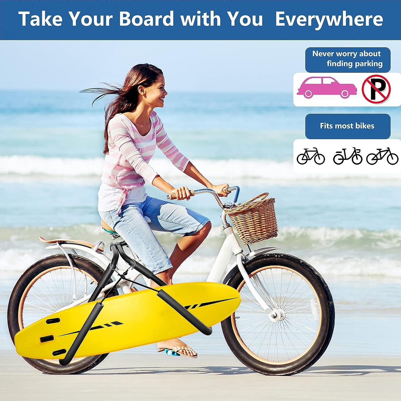 Wakeboard Boogie Board,Bicycle Surfboard Rack SolidGnik Surfboard Bike Rack,Surfboard Racks for Bike, Adjustable Surf Board Carrier for Shortboard