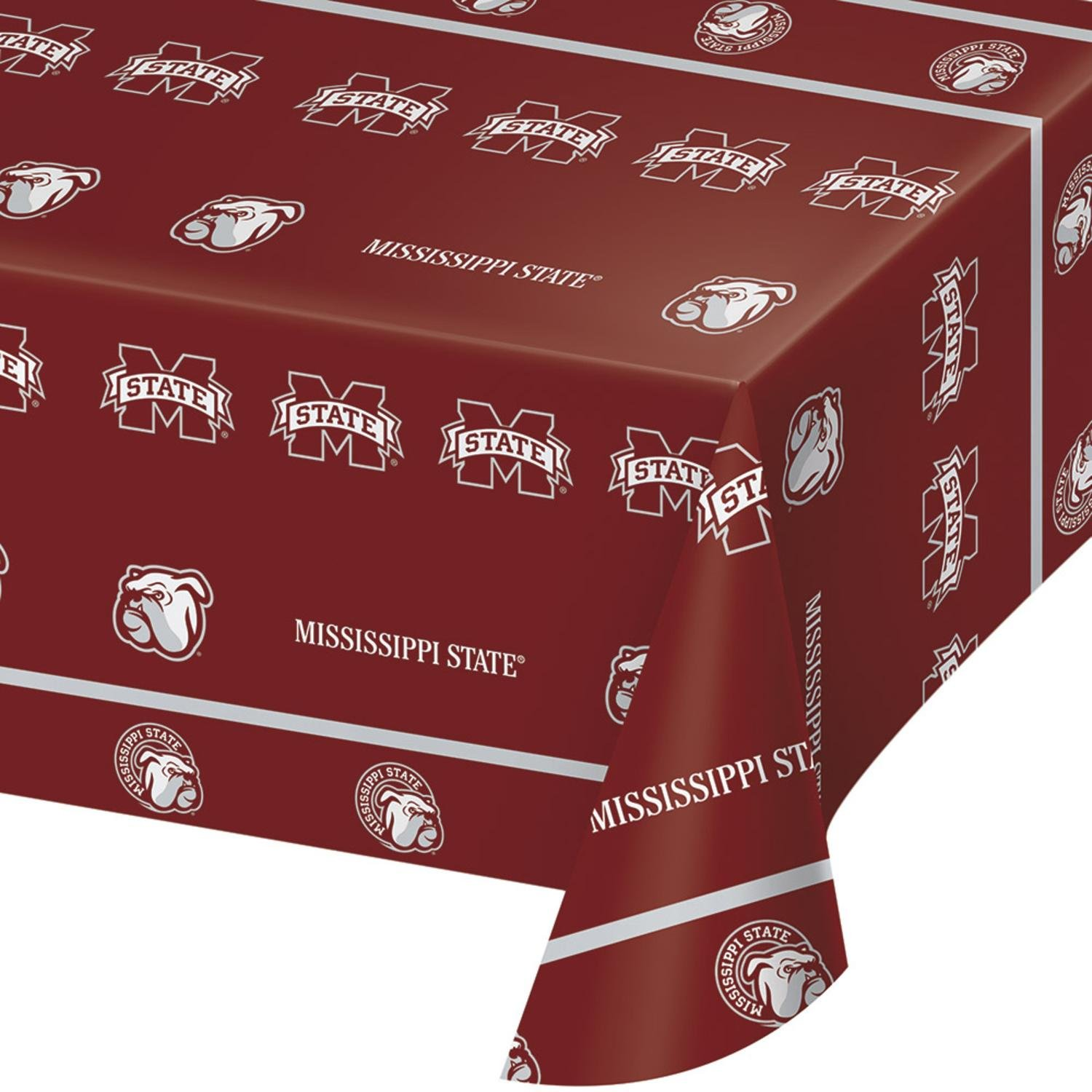 Pack of 12 Mississippi State University Disposable Plastic Picnic Party Table Covers 108''