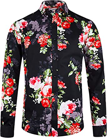 WTYT Camisa floral de manga larga para hombre con botones y estampado de flores