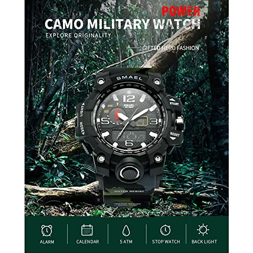 Amazon.com: SMAEL Mens Sports Analog Digital Quartz Military Watch Waterproof Multifunctional Large Dial Wrist Watch for Men (Forest Camouflage): Watches