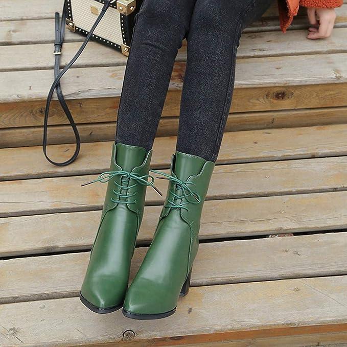 ❤ Botas largas para Mujeres, otoño Invierno Retro Borla Zapatos Cuero tacón Alto Puntiagudo con Cordones Boots Absolute: Amazon.es: Ropa y accesorios
