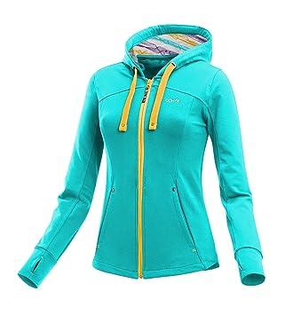 3f631d5d6ad2a6 ABK Foka Sweat Sweatshirt mit Reißverschluss und Kapuze, Damen L Türkis  (Angle Blue)
