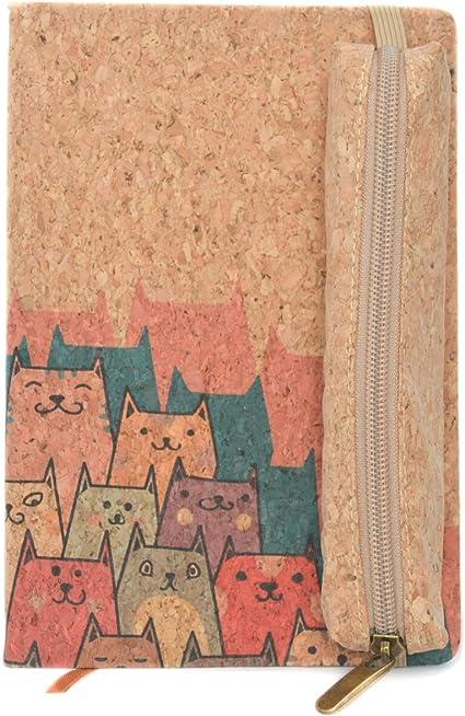 Pack cuaderno corcho natural + estuche de corcho prensado (Gatos): Amazon.es: Oficina y papelería