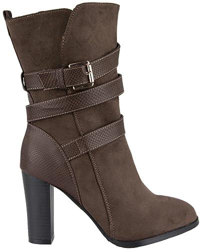 modische Damen Stiefeletten  Stiefel mit Blockabsatz und Schnalle braun 41 6e0460359f