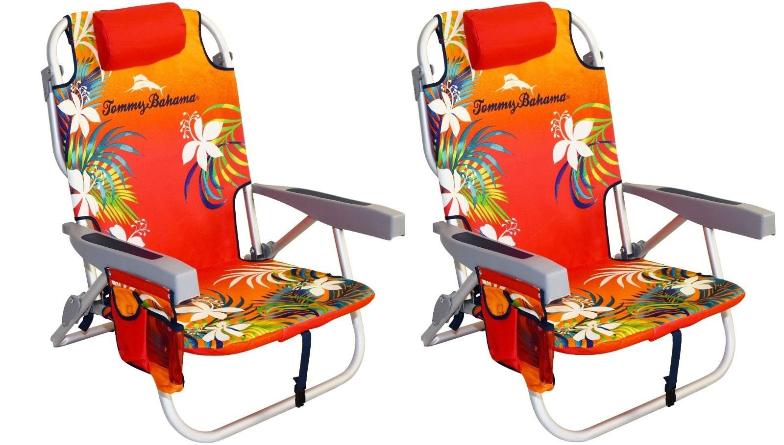 2 Tommy Bahama 2016 Backpack Cooler Chair with Storage Pouch and Towel Bar (Orange/Red & Orange/Red)