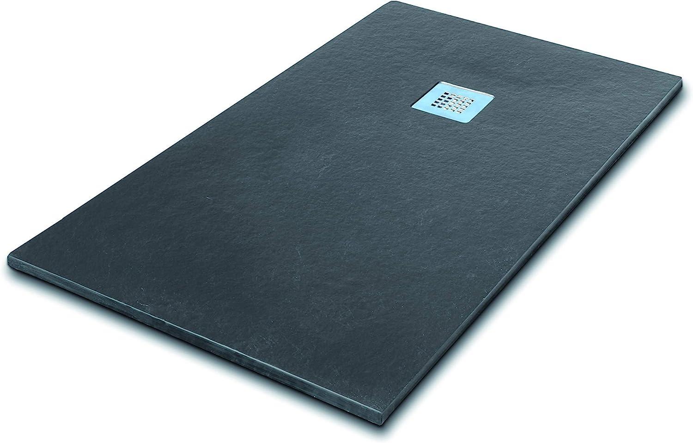 SEVIBAN - Modelo ALTAIR - Plato de Ducha de Resina con Carga Mineral - Textura Pizarra - Grafito Ral: 7016 (80 x 90): Amazon.es: Bricolaje y herramientas