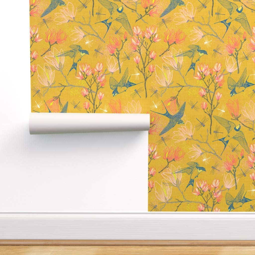 Spoonflower Peel And Stick Removable Wallpaper Bird Floral