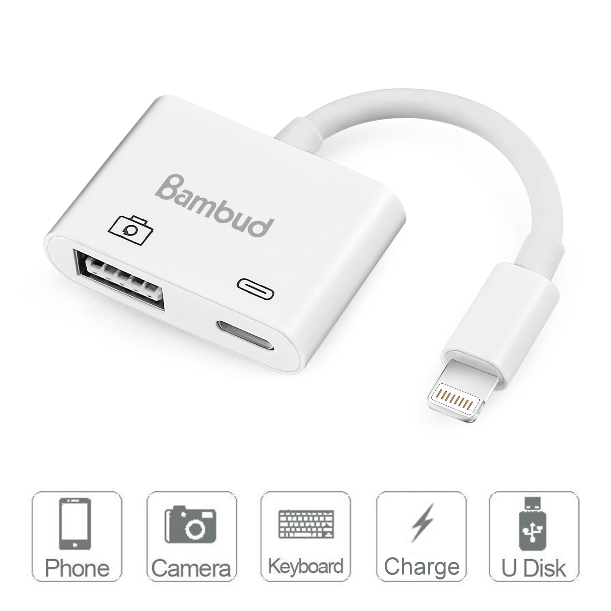 Lightning to USB Camera Adapter, Bambud Lightning to USB 3.0 Female OTG Adapter Cable With Charging Interface For iPad mini Air Pro and iPhone X/8/8plus/7/7plus/6/6s/6plus/6s plus/5/5c/5s