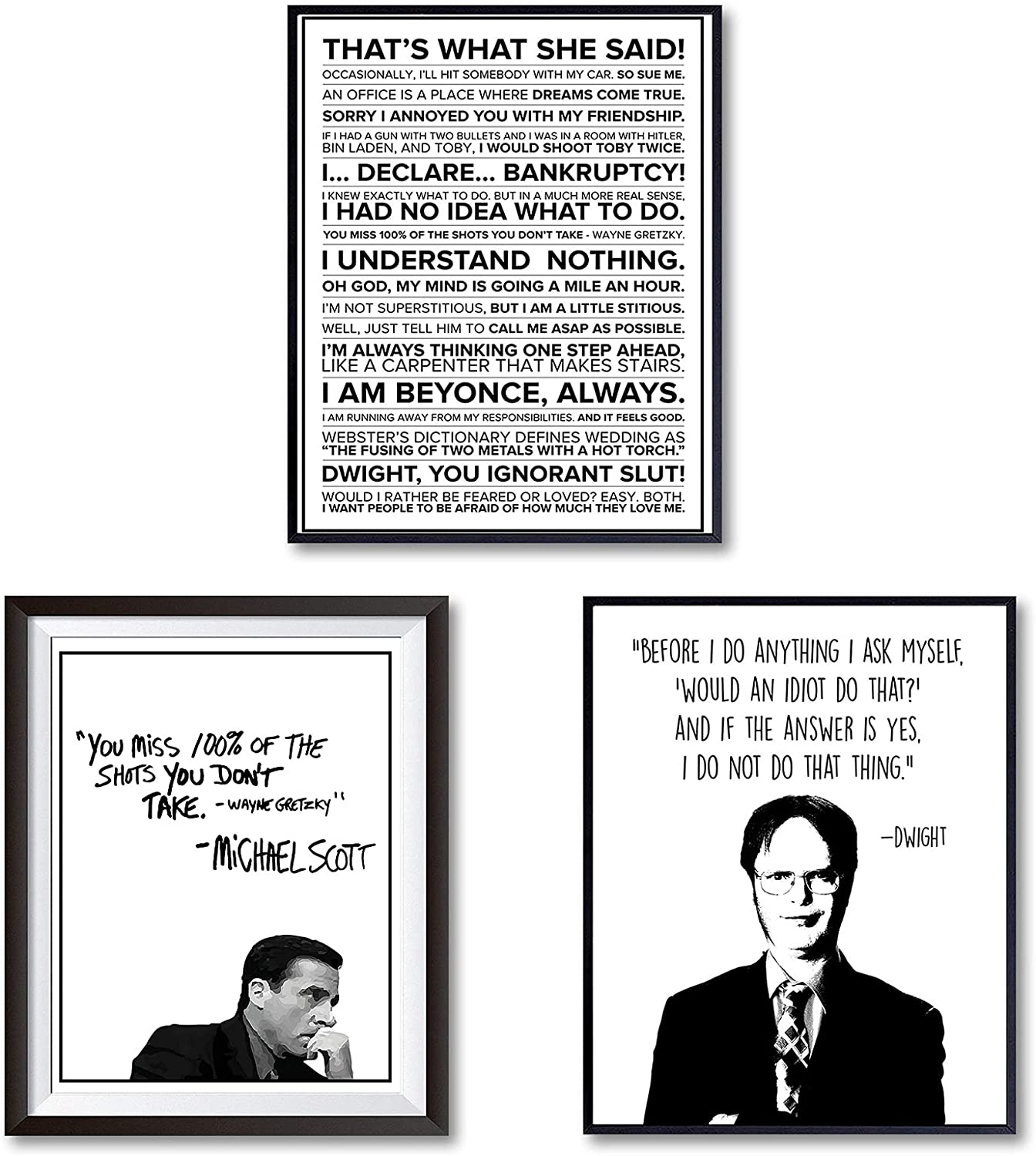 The Office Motivational Quote print, TV Show poster wall decor, Michael Scott, Dwight Schrut, Funny Great Gift For Fans,11*14 Inch,Set of 3