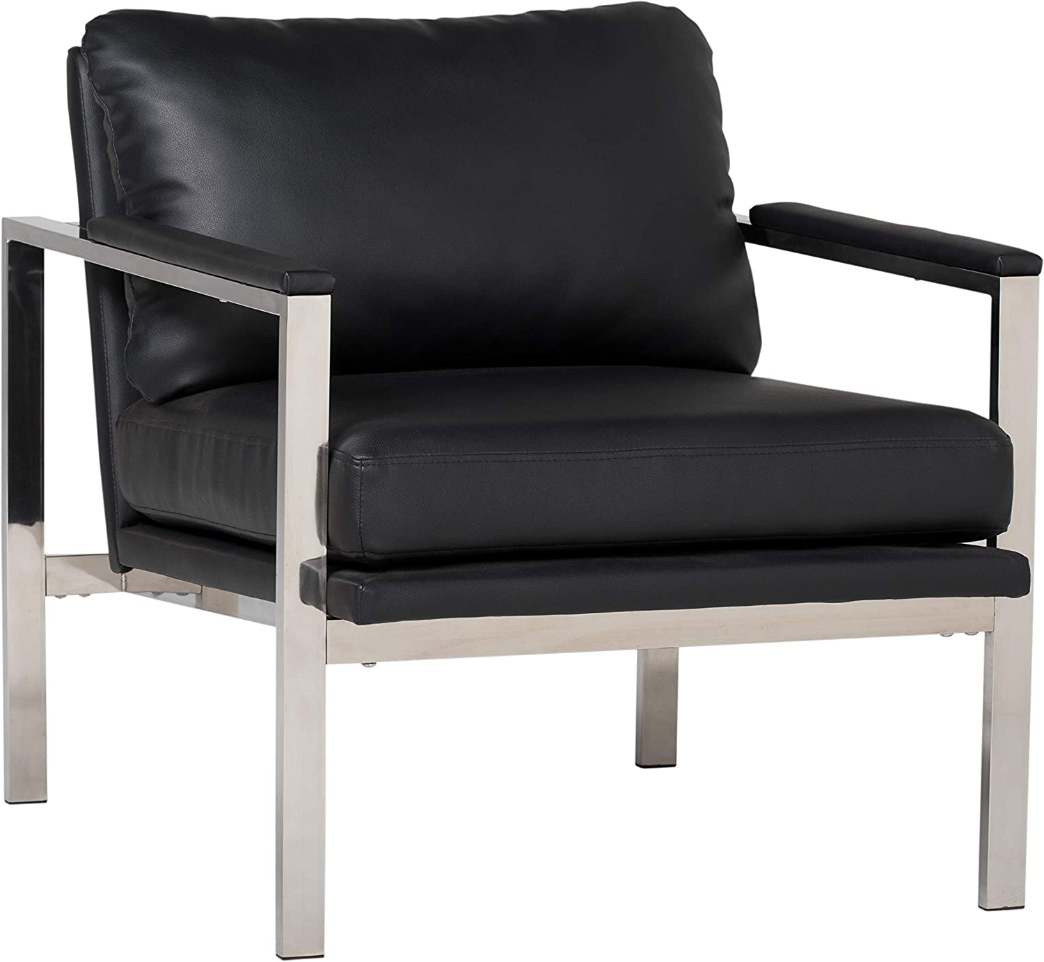 "Studio Designs Home Lintel Modern Leather Arm Chair in Chrome/Black , 28"" W x 32"" D x 33"" H"