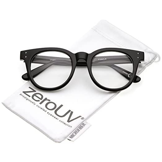 1bb5e6321b8 zeroUV - Classic Rivet Accent Wide Arms Clear Lens Horn Rimmed Eyeglasses  48mm (Shiny Black