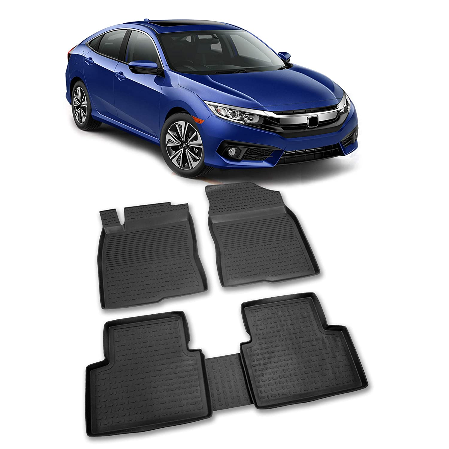 RefRef Custom All Weather 4D Car Mat for 2016-2019 Honda Civic Waterproof /& Dirt Proof Black Anti-Slip Auto Flooring Eco-Friendly /& Easy to Clean