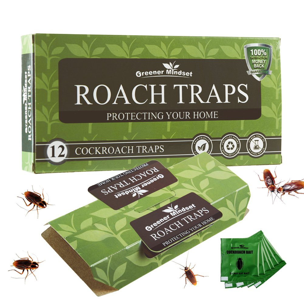 Greener Mindset 12 Pack Cockroach Traps with Bait Included | Premium Glue Trap | Eco-Friendly | Non-Toxic | Chemical Free | Spiders Ants Roach Killer