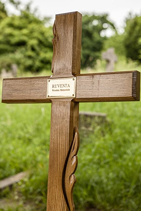 55 Solid Oak Memorial Cross Temporary Grave Marker With Personalised Plaque