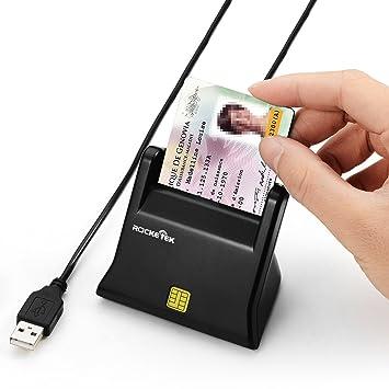 DNI Electrónico - Lector de tarjetas de memoria, Rocketek - Lector de Tarjetas electrónicas DOD militar de acceso común CAC USB, compatible con ...