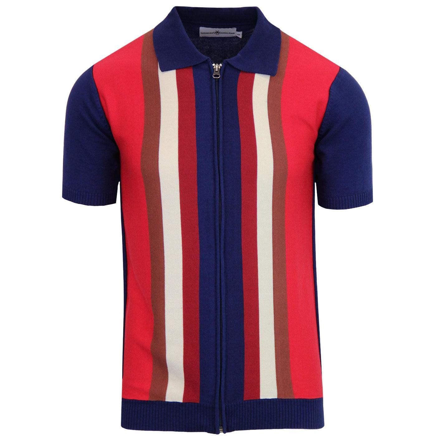1960s – 70s Mens Shirts- Disco Shirts, Hippie Shirts Madcap England Mens Retro 70s Victor Zip Through Polo Cardigan £39.99 AT vintagedancer.com