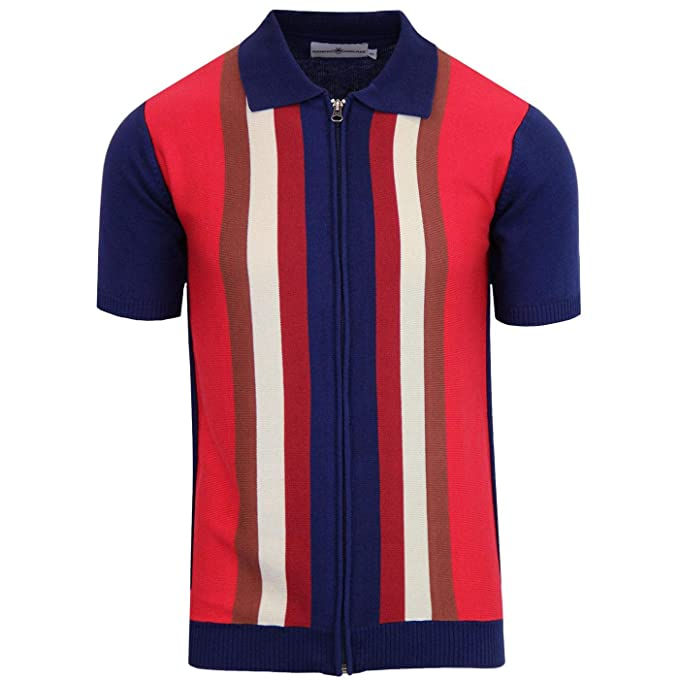 Vintage Shirts – Mens – Retro Shirts Madcap England Mens Retro 70s Victor Zip Through Polo Cardigan in Navy Blue £39.99 AT vintagedancer.com