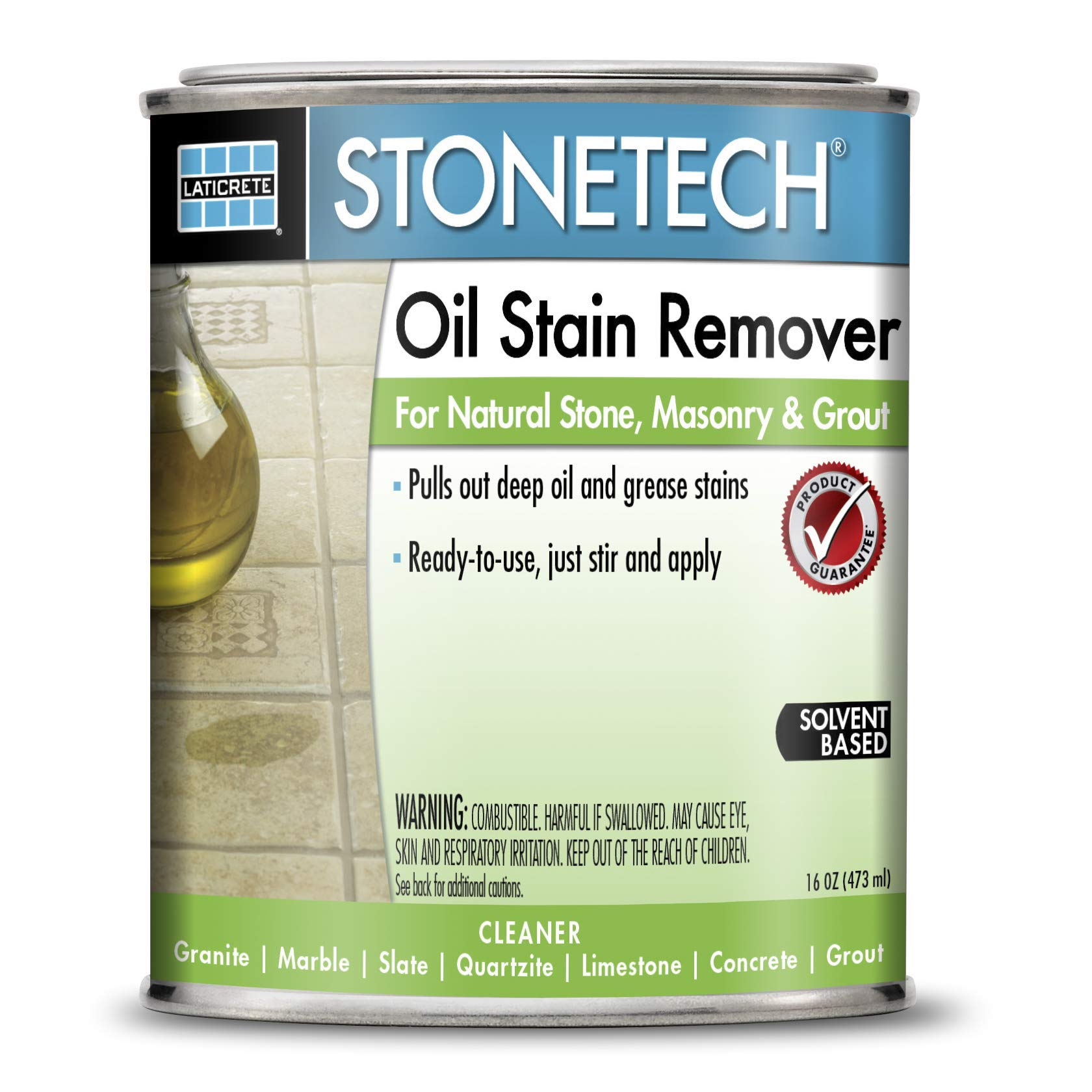 StoneTech Oil Stain Remover, Cleaner for Natural Stone, Grout, & Masonry, 1-Pint (.473L)
