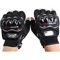 Probiker Half Finger Motorcycle Riding Gloves (Black, XL)