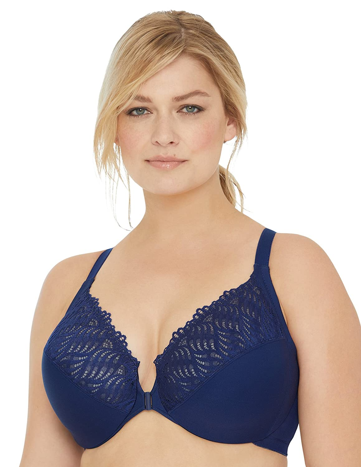 076af328a05 Glamorise Women's Full Figure Front Close Lace T-Back Wonderwire Bra #1246  at Amazon Women's Clothing store: