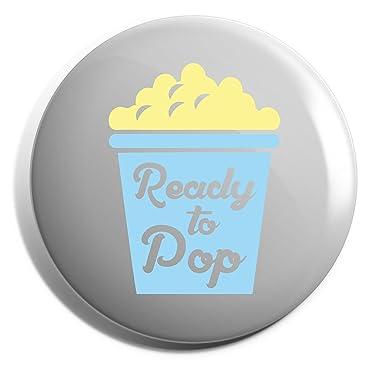 6d9cb824d33 Hippowarehouse Ready to pop (blue) Badge Pin  Amazon.co.uk  Clothing