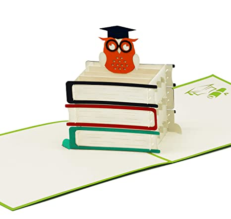 a8c9053374 Biglietto di auguri per laurea, biglietto 3D pop-up, con simpatico gufetto  di